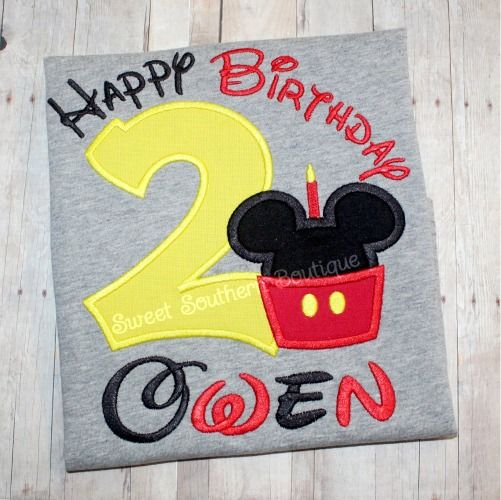 Mickey Minnie Mouse Birthday Shirt Custom Embroidered