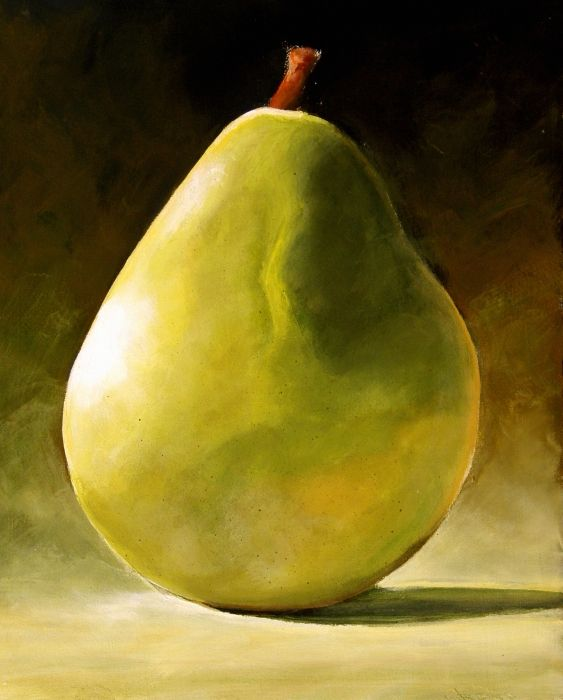 Green Pear by Toni Grote, Acrylic On Wood Panel - I like the high contrast -