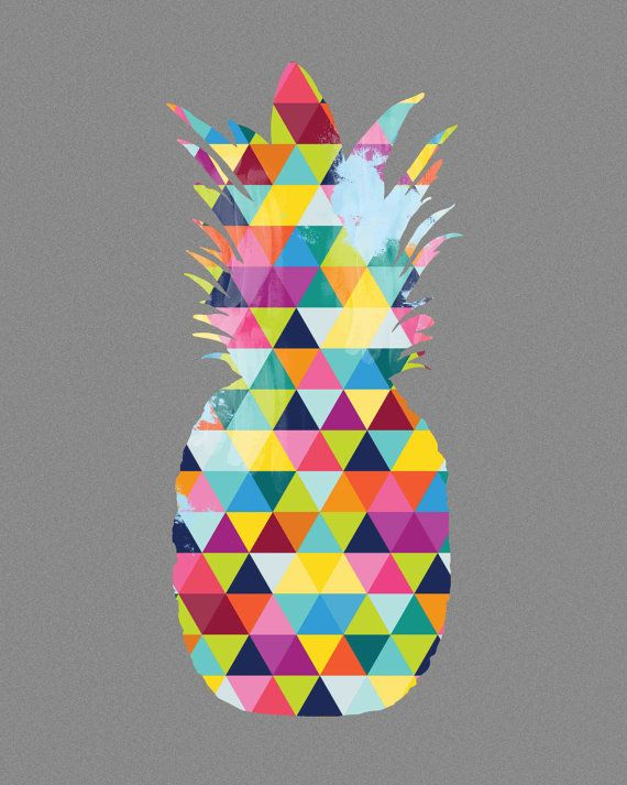 pineapple art print bright geometric colorful colourful