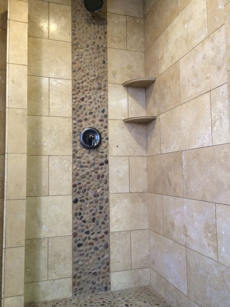 Natural Pebbles Stones Shower Floor And Wall Accents