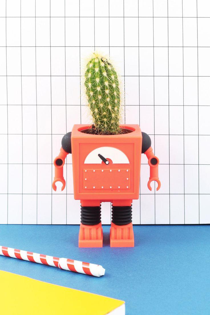 PLANTERBOT RED ·  http://doiydesign.com/en/products/132-planter-rbot-red.html  #robot #cactus #planter #red www.geminioctopus.com