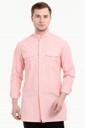 361dd0119 Men s Nehru Collar Short Linen Baby Pink Kurta