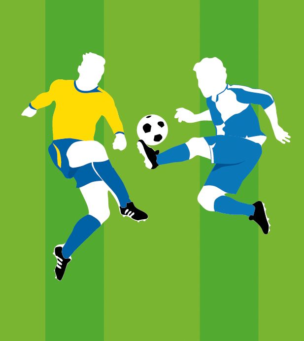 niekfabriek illustration ; advertising a local derby. Given the minimalistic image of a footballfield (green stripes in background) I choose this somewhat cleancut scissored illustration style.