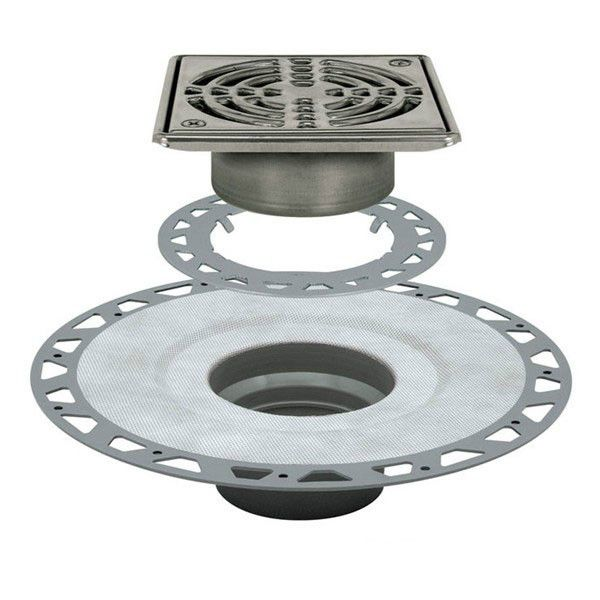 Schluter Kerdi Drain Kit 6 Square Stainless Steel Grate Pvc Flange With 2 Drain Outlet
