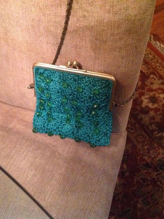 Bolsa Real color verde con cuentas crochet por crochefino en Etsy