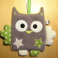 Doudou plat - gris vert blanc - pois et étoiles - création bébé fait-main