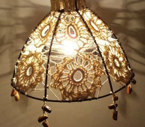 125 best crochet lamps shades lighting images on pinterest crochet inspiration crochet on a wire lampshade frame greentooth Images