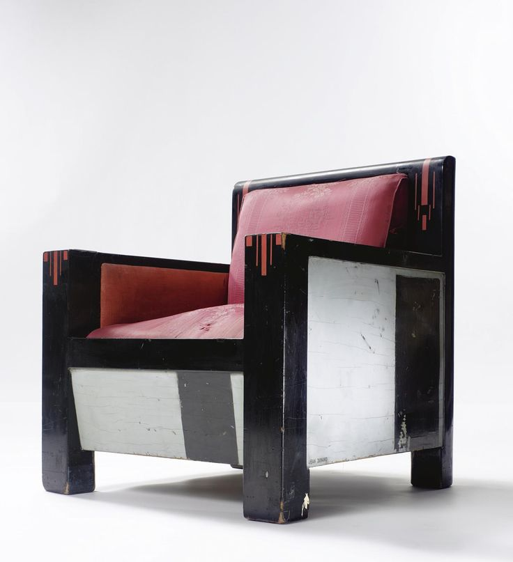 Jean Dunand ARMCHAIR inscribed JEAN DUNANT and MADE IN FRANCE lacquered wood, partially-painted metal, original upholstery and later silk upholstery 31 3/8 in. (79.7 cm) high ca. 1928
