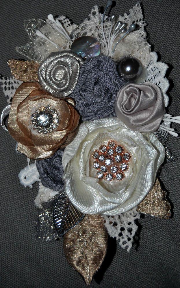 silk diamante white grey corsage brooch dress pin wedding bride vintage 14 cm xl