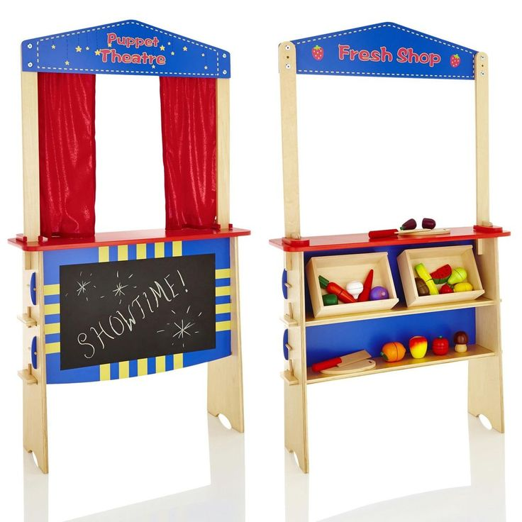 2 in 1 Childrens/Kids Wooden Puppet Theatre Stage & Fruit Market Stall/Shop Toy