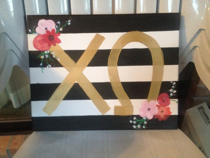 Sorority Canvas Painting. I love this idea- but maybe with real craft flowers! Adds a bit of dimension.