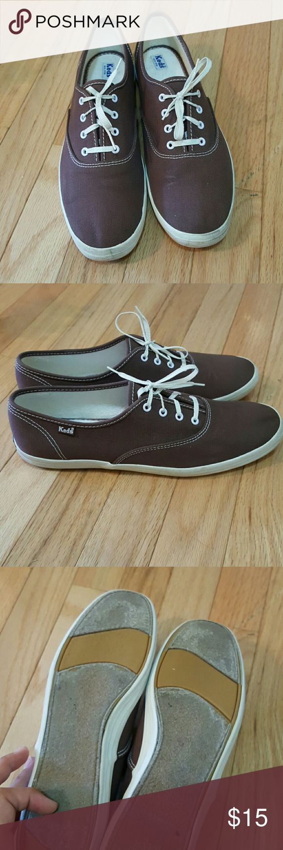 PRICE DROP! Keds, brown, Sz. 9.5 Keds.  Brown and white, size 9.5.  Soles are in great condition.  Please refer to pictures for further details.  Excellent pre-owned  condition.  Can be combined as a bundle with beige Keds, also size 9.5 in my closet. Keds Shoes Sneakers
