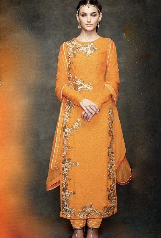 Bright Orange Designer Bridal Suit - Desi Royale