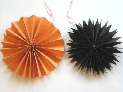 Homemade Halloween Decorations - Hanging Paper Fans