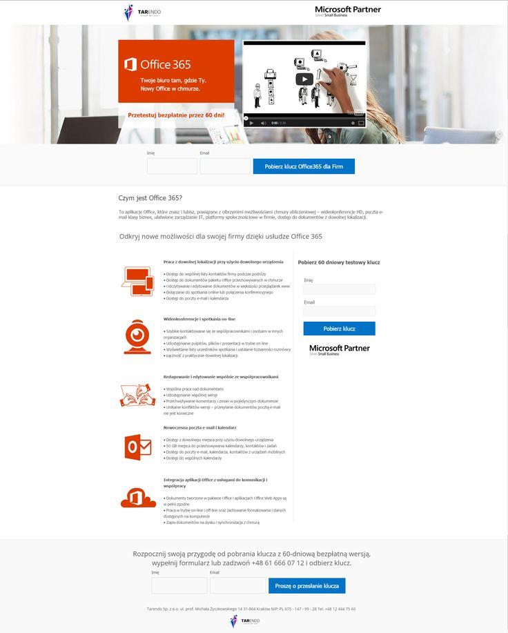 Strona stworzona na potrzeby kampanii Office 365 dla Firm. Zajmowaliśmy się również promocją produktu w województwie małopolskim oraz wielkopolskim.