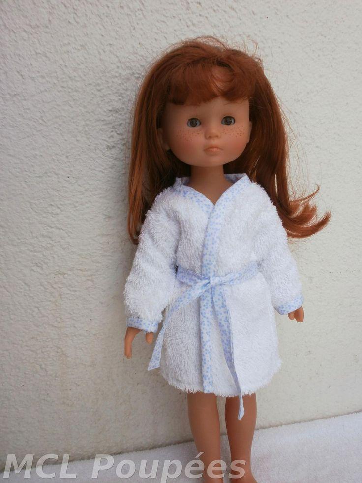 Habits Les Chéries - peignoir en tissu éponge blanc et biais à fleurs bleu pastel : Jeux, jouets par mcl-poupees