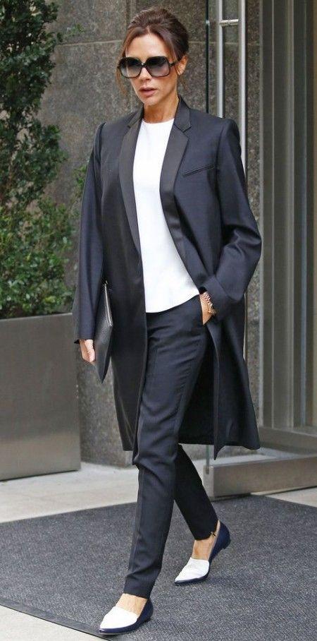 Victoria Beckham style transformation, flats, tuxedo, pantsuit, business style