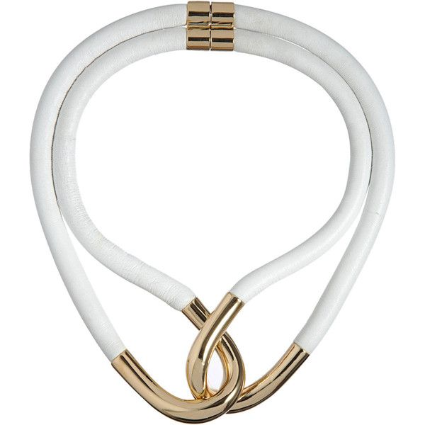 Balenciaga Twin-Linked Leather & Metal Necklace ($449) ❤ liked on Polyvore