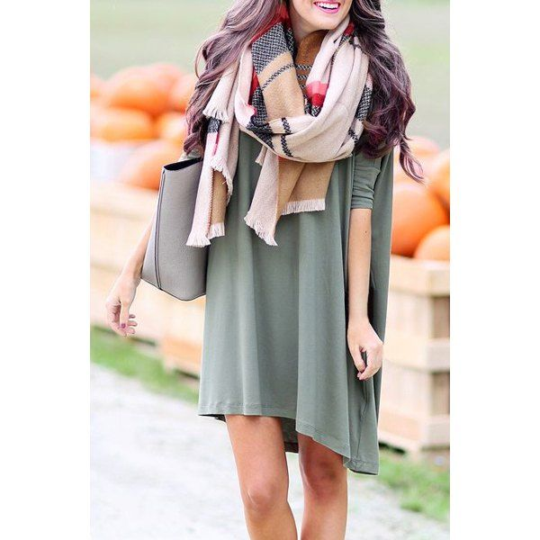 Stylish Women's Pure Color Long Sleeve Scoop Neck Dress