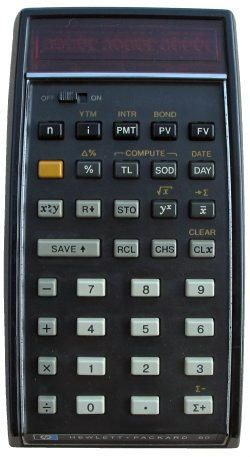 HP 80, RPN,  reverse polish notation, better system if you think about it.  5 hit enter, 2, then operation +, and answer 7 is displayed