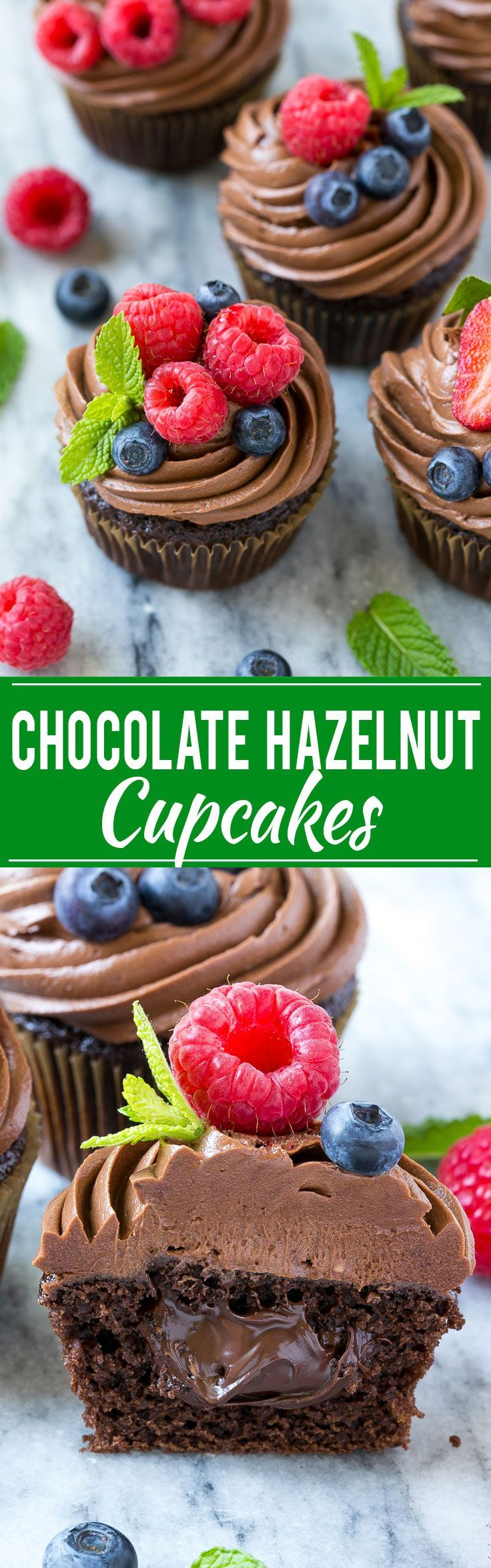 This recipe for chocolate hazelnut cupcakes is chocolate cupcakes filled with milk chocolate hazelnut spread, then finished off with chocolate hazelnut frosting and fresh berries. The perfect treat for a special occasion! #chocmeister #chocolatehazelnut #ad