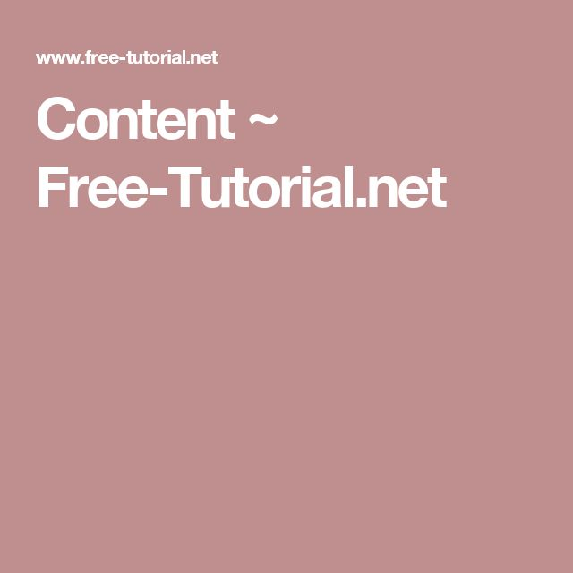 Content ~ Free-Tutorial.net