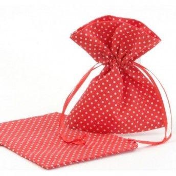 Sacchetti portaconfetti a pois rosso per matrimonio in tema!
