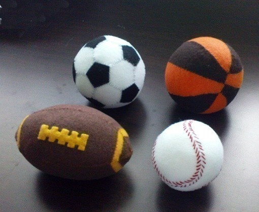 Felt Play Balls - Basketball Baseball Soccer Ball Rugby Ball (Patterns and Instructions via Email)