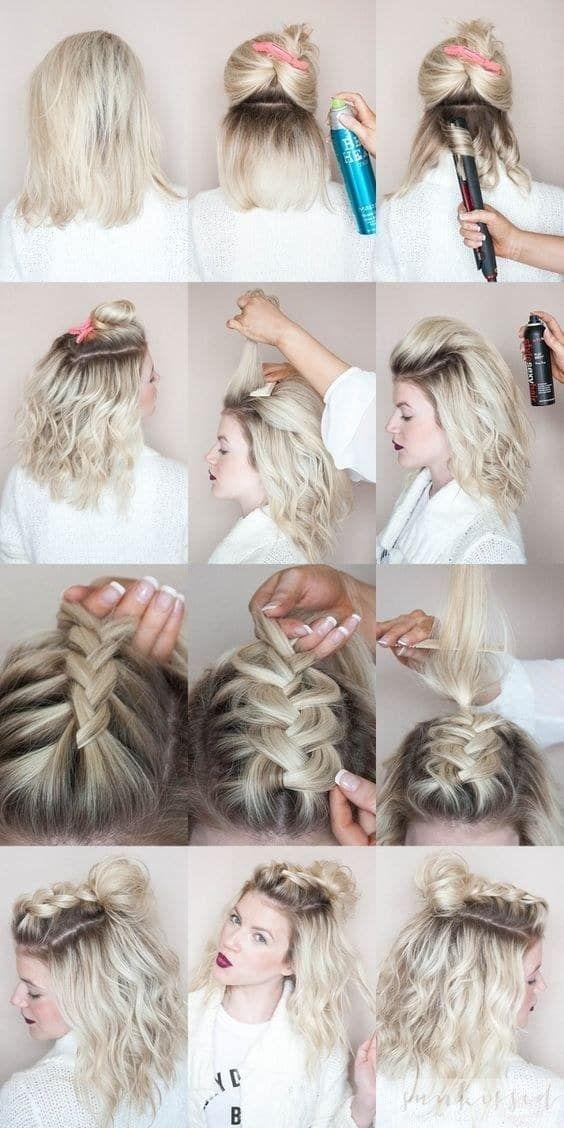 Empieza ondulando tu cabello. En la parte superior haz una trenza francesa, ábrela suavemente y termínala con un chongo despeinado.