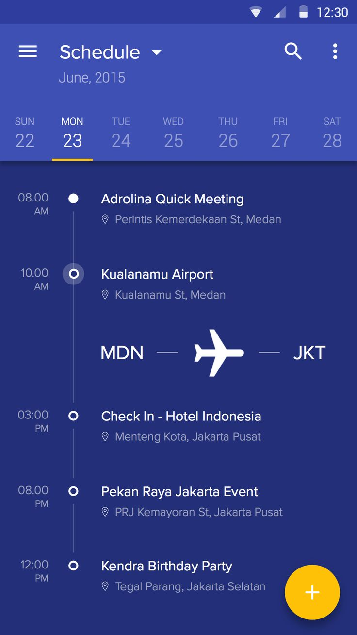 Schedule Application Interface – Mobile app by Afrian Hanafi