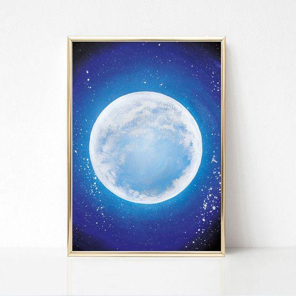 Digitaldruck - Kunstdruck Blauer Mond Aquarell Poster - ein Designerstück von Innanet bei DaWanda