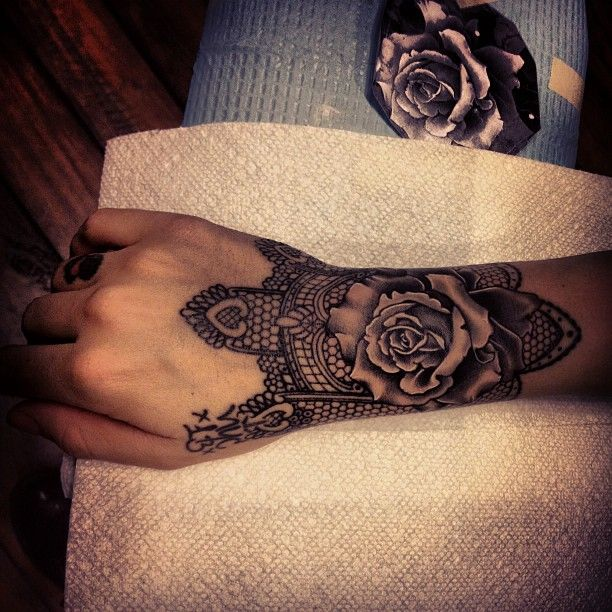 Getting this lace & rose tattoo with the feather on my hand as well, <<<<<<<<<<<<<<<  rose & lace tattoo by annie lloyd @ three kings
