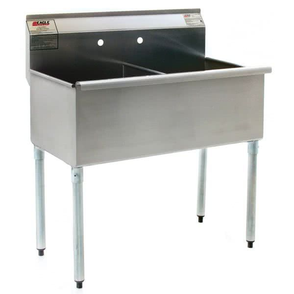 """Eagle Group 2448-2-16/4 Two Compartment Stainless Steel Commercial Sink without Drainboard - 49 3/8"""""""