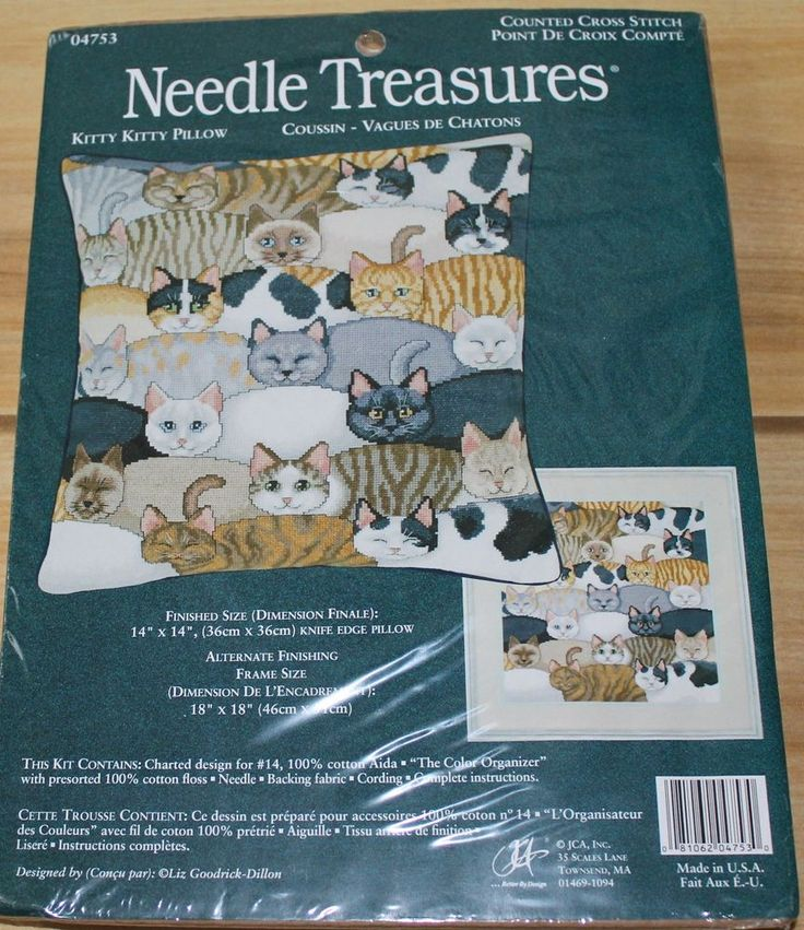 Kitty Kitty Pillow - Counted Cross Stitch Kit. Kit # 04753 NIP RARE. from Needles Treasure. This kit is RARE and difficult to find. KIT INCLUDES: 14 count 100% Aida fabric, The Color Organizer with pre-sorted.   eBay!