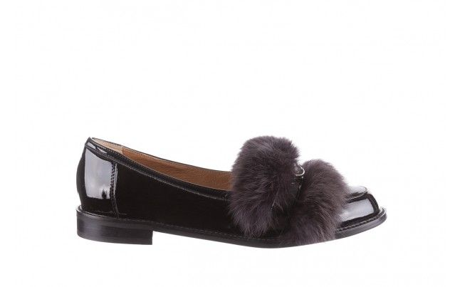 Bayla 130 4799 Czarne Polbuty Czarne Polbuty Bayla Z Naturalnej Skory Lakierowanej Ozdobione Grafitowym Futrem Naturalnym Shoes Fashion Sandals