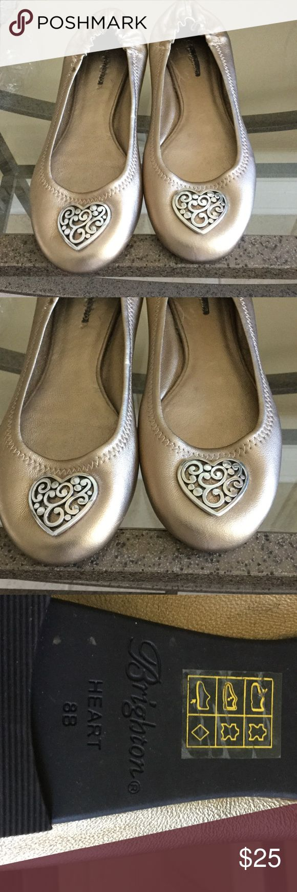 Brighton gold Ballet shoes, size 8B, barely worn Brighton size 8 shoes in nearly new condition. Never worn outside. Brighton Shoes Slippers