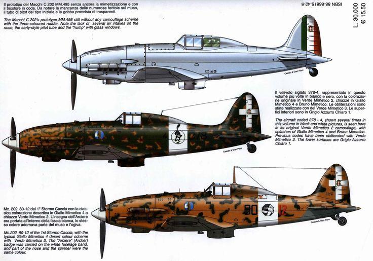 Macchi M.C. 202 Folgore - 1. Prototipo iniziale senza colorazione mimetica - 2. MC 202 numerato 379-4 - 3 MC - 202 sigla 80-12 del 1° Stormo Caccia in colorazione mimetica da deserto.