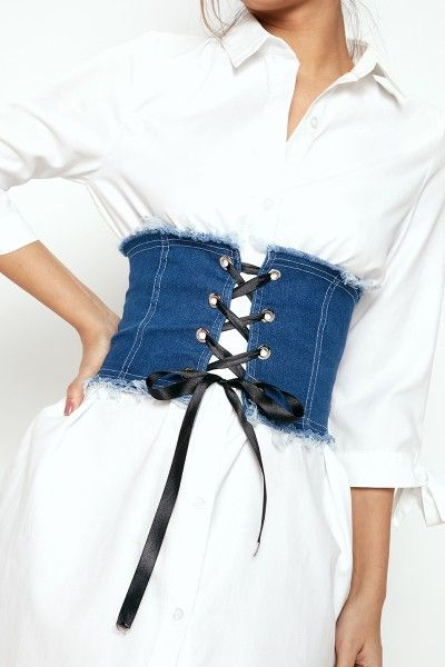 Nicola Darkish Denim Lace Up Corset Belt
