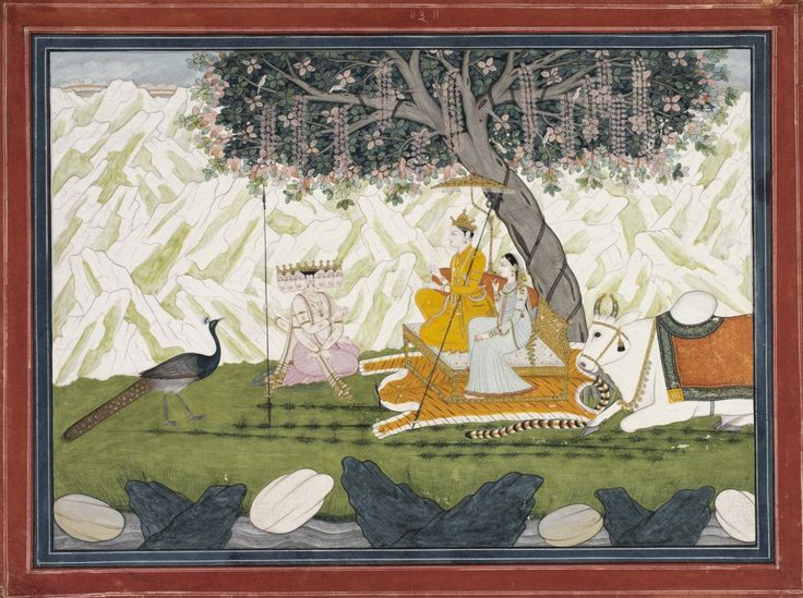 Shiva Describes the Benefits of Pilgrimage to Holy Kedarnath. Page from a dispersed series of the Kedara Kalpa. Made in Kangra, Himachal Pradesh, India. c. 1800-1825. This page, early in the series, shows the narrative device at the beginning, when Shiva is seen telling the tale of the 5 sages to Karttikeya. (Excellent further discussion at the link.)