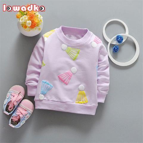 Spring autumn Baby Girls t-shirt Long Sleeve Badminton Pattern Sport t-shirts for girls Cotton Children Clothes