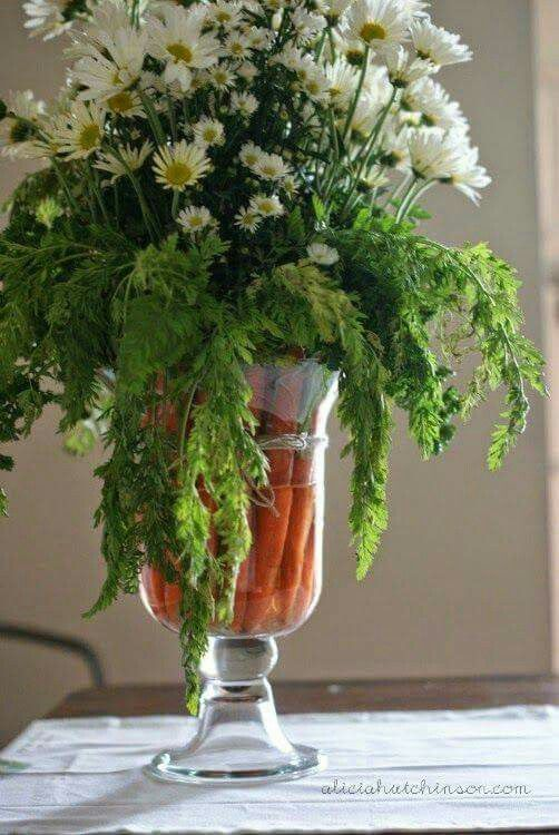 Carrot and Daisy Easter centerpiece