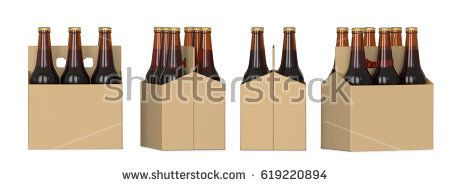 Four views of a six pack of brown beer bottles in cardboard box. 3D render, isolated on white background.
