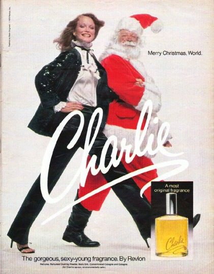 """1979 CHARLIE PERFUME vintage magazine advertisement """"Merry Christmas, World."""" ~ Merry Christmas, World. ... The gorgeous, sexy-young fragrance. By Revlon ... Fashion by Siam Originals. ~"""