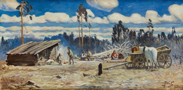 Julian Fałat - Odpoczynek po polowaniu w Nieświeżu, około 1915 r.