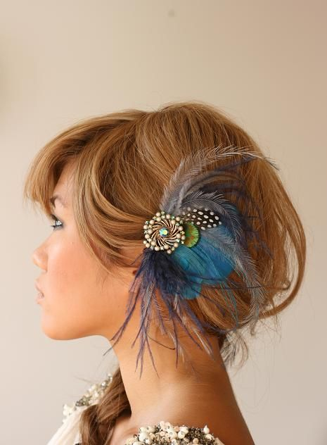 love it love it love it: Peacock Feathers, Wedding Hair Pieces, Feathers Hair Pieces, Head Pieces, Bridal Headpieces, Feathers Headpieces, Something Blue, Hair Accessories, Feathers Hair Clip