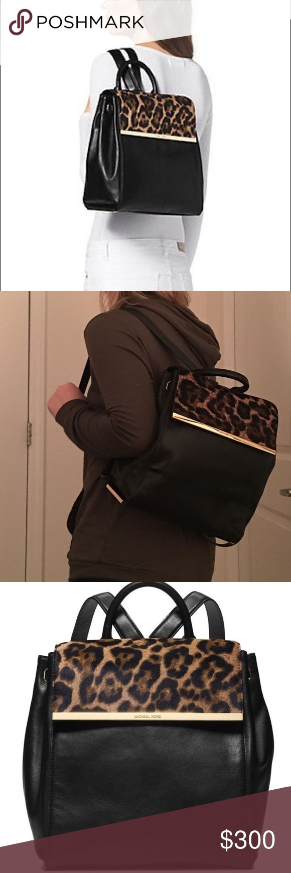 Michael kors back pack black Lana Michael Kors - Nwt Women's Black Lana Leopard-Print Hair Calf And Leather Backpack Michael Kors Bags Backpacks
