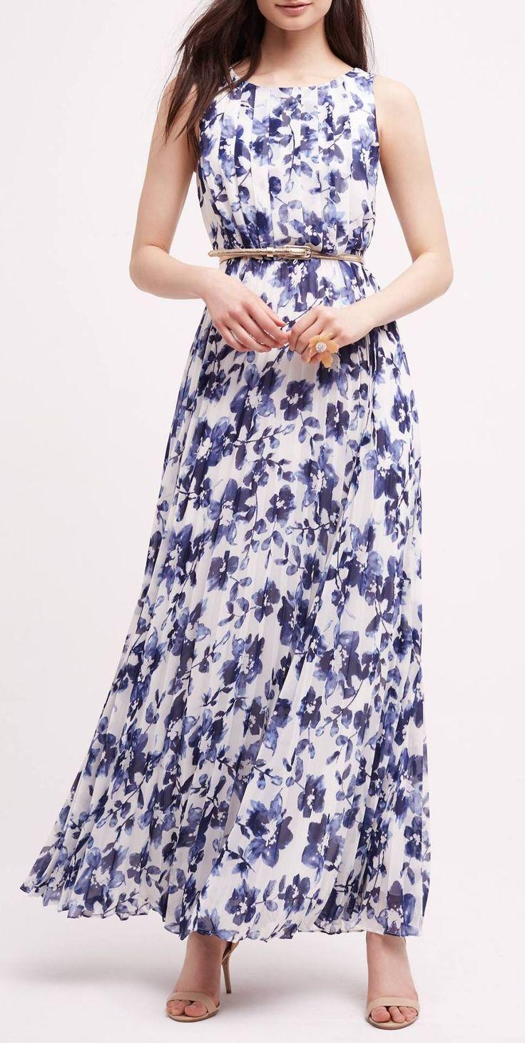 Blue & White Floral Maxi Dress