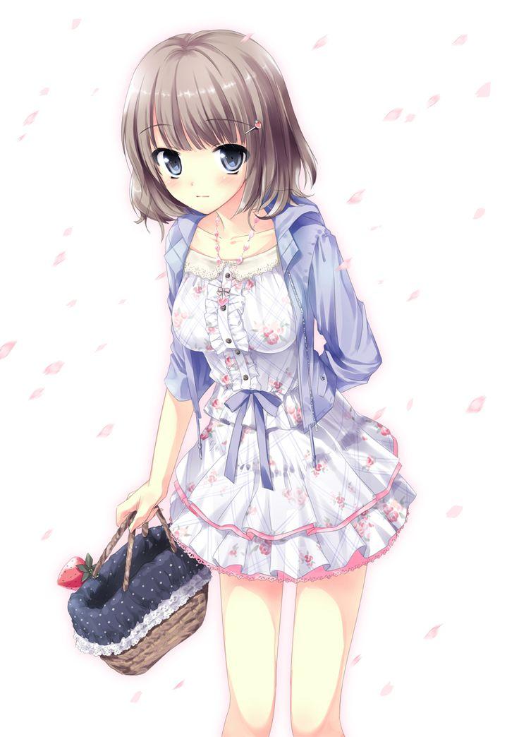 ✮ ANIME ART ✮ clothes. . .cute fashion. . .floral dress. . .sweater. . .hoodie. . .purse. .. basket. . .strawberry charm. . .hair pin. . .short hair. . .flower petals. . .cute. . .kawaii