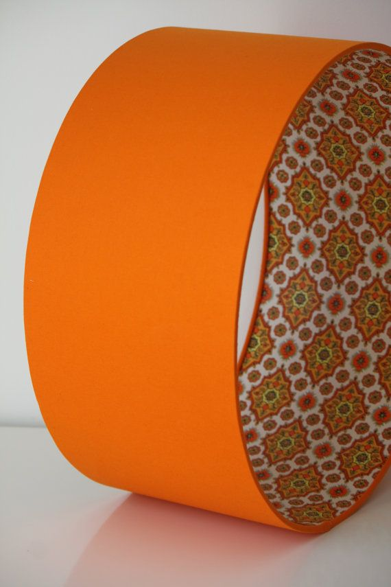 Orange fabric lamp shade lined with vintage 1970's by TigerBeans