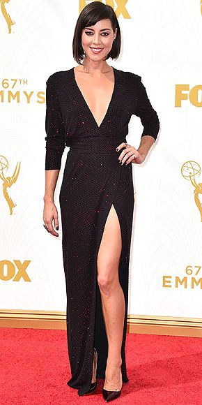 The Most Gorgeous Gowns on the Red Carpet at the 2015 Emmys | AUBREY PLAZA | Shedding her Parks and Recreation hipster duds for some '70s glam, the star plays up her high-slit sparkling Alexandre Vauthier wrap number with an asymmetric bob and high heels.